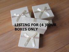 4 x Cream Jewellery Gift Boxes Square Necklace Bracelet Bangles Box Storage