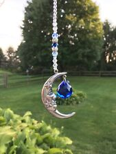 Rear View Mirror Blue Moon Crystal Car Charm Ornament, Window Moon Sun catcher