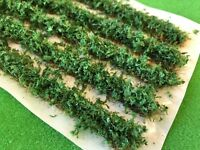 Mid Green Leafy Hedge Strips - Static Grass Tufts Model Scenery Wargames Railway