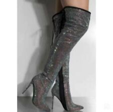 Women Crystal Sexy Over The Knee Boots Thigh High Heels Pointed Toe Zipper Boots