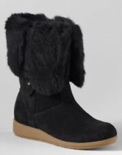 NWT Lands End Mendota Fur Trim Mini Wedge Winter Boots Size 7.5 Black Suede
