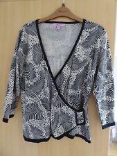 Monsoon size 12 Black & White V Crossover neckline 3/4 sleeve Jumper