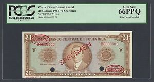 Costa Rica 20 Colone 1964-70 P231as Specimen TDLR Uncirculated Graded 66