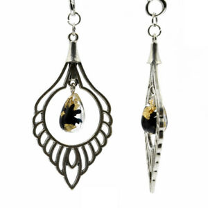 2x Gold Foil Leaf Pendant Ear Plugs Body Jewelry Tunnels Gauges Expander Earring