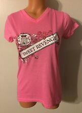 •• Women's Sweet Revenge Size Small Cotton Blouse SS  Tshirt V Neck Top Nice!