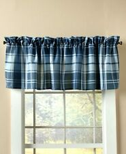 Blue Plaid Lake House Window Valance Country Northwoods Cabin Checkered Valance