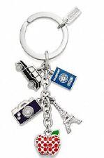 NEW Coach 62733 Pave Signature Travel Mix Passport Apple Keychain Key Fob