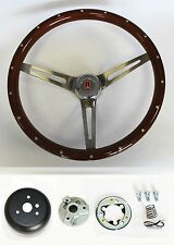 69-93 Oldsmobile Cutlass 442 Wood Steering Wheel with Rivets High Gloss 15""