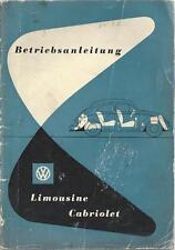 VW KÄFER Betriebsanleitung April 1954 Bedienungsanleitung CABRIOLET LIMOUSINE BA