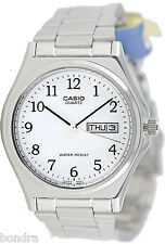 Casio MTP1240D-7B Men's White Analog Steel Band Watch Stainless Date Day New