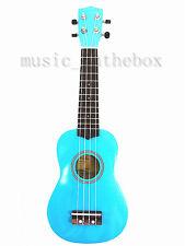"Beautiful Blue 21"" Wooden Soprano Ukulele(Rosewood Fingerboard & Bridge) & Bag"