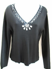 cable & gauge Black Slinky Knit Sweater Sz M V Neck Rhinestone Embellished Top
