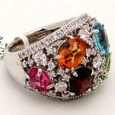 Diamond Multi-colored Gemstone Cocktail Ring 9.85TCW 14KW Gold Blue Pink Purple