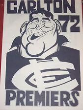 CARLTON FOOTBALL CLUB - JOHN NICHOLLS - WEG POSTER - PREMIERS - 1972