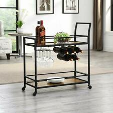 Industrial Bar Cart Wood Shelf Metal Frame Stemware Holder Wheels Rustic Brown