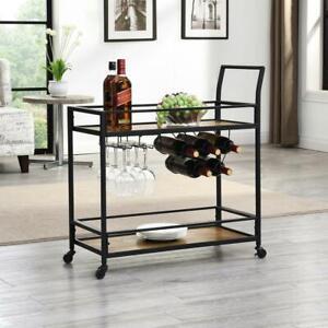 Industrial Bar Cart Wood Shelf Metal Frame Stemware Holder Wheels Rustic Brown
