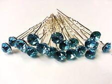 20 Turquoise 8mm Glass Crystal Rhinestone Diamante Wedding Bridal Prom Hair Pin