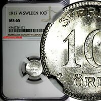 SWEDEN Gustaf V Silver 1917-W 10 Ore NGC MS65 WWI Issue  KM#780