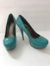 ALDO Platform Stiletto Heels Turquoise Patent Leather Closed Toe US Size 8  1/2