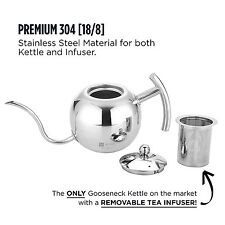 Premium Stainless Steel Pour Over Coffee Tea Kettle Removable Tea Infuser