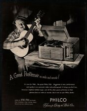 1947 PHILCO Record Player - Man Playing Acoustic Guitar - Music -  VINTAGE AD