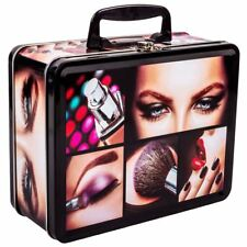 METAL STORAGE CASE HANDLE BOX ORGANIZER MAKE UP COSMETIC BRUSH PENCIL 22x17x9cm