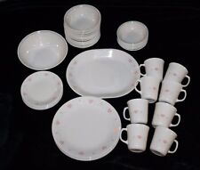 Corelle by Corning Ware Forever Yours Pink Hearts 50-Piece Dinnerware Set Beige