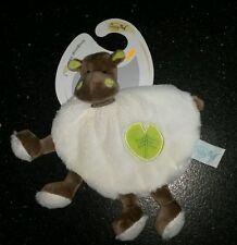 NEUF Doudou Bazile l'hippopotame Babynat plat blanc marron vert feuille baby nat