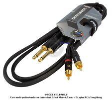 PROEL CHLP310LU15 1,5mt Cavo audio profess. 2 Jack Mono 6,3 mm > 2 x spina RCA