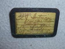 Vintage Fishing License California Fish & Game 1940 Pin Badge Antique W Holder >