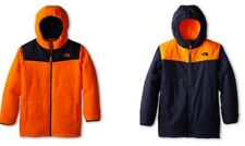 The North Face Youth Boys True Or False Reversible Fleece Jacket Orange Blue L
