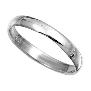 Solid Sterling Silver Plain  Band Polished Ring 3mm Wide Sizes G-Z Wedding Thumb
