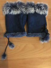 Blue Fingerless Faux Fur Mittens BNWOT