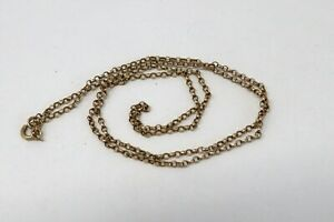 A Stunning Antique Victorian 9ct 375 Yellow Gold Belcher Link Chain Necklace #71
