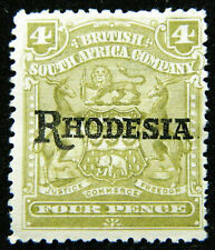 Rhodesia Stamp 1909-12 4d Overprinted Scott # 87 SG105a MINT OG H