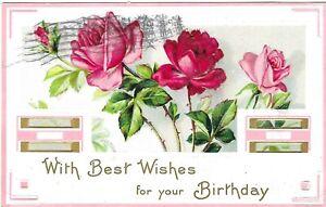 Vintage Greetings Postcard Embossed Birthday Best Wishes Pink Red Roses