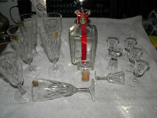 Vintage VMC Reims Champagne Wine Flutes  + Sherry Glasses & Decanter