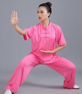 Silk Kung Fu Tai Chi Uniform T-Shirt Pants Summer Martial Arts Wingchun Suit New