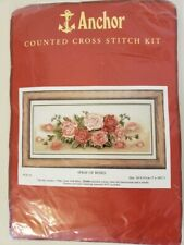 Anchor Counted Cross Stitch Kit #PCE721 Spray of Roses Complete Kit Open Package