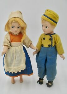 Two Vintage 11 inches Tall Composition Dutch Dolls