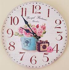 Large Vintage Rustic French Wall Clock-Kitchen Shabby Chic Retro -Botanic Garden