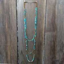 NEW Anthropologie TURQUOISE Gemstone MULTISTRAND Multilayer LONG Stone Necklace