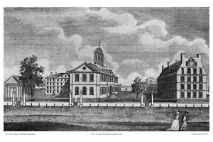 """8x12"""" """"COLLEGES OF CAMBRIDGE MASSACHUSETTS"""" HARVARD, ETCHING S. HILL 1790 REPROD"""