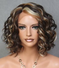 Short Brown Blonde mix Wig Full Lace Front Curly Hairpiece NWT KRN som4-27-613