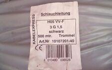 Schlauchleitung PVC Kabel H05 VV-F, 3 G 1,5, schwarz, 500 mtr. Trommel