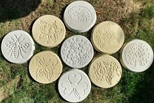 More details for round concrete stepping stone - twin pack - assorted designs - by funkyrustics