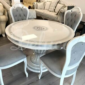 Aria White Gloss Italian Round Extending Dining Table Set + 4 Grey Fabric Chairs