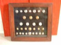 30 Framed vintage British Railway Buttons SR, LMS, Intercity