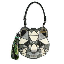 Mary Frances Bear With Me Panda Black White Geo Beaded Handbag Purse Bag New