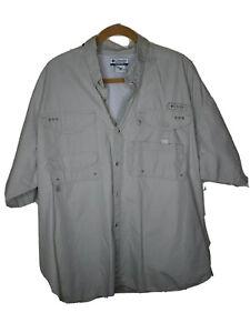****** Men's COLUMBIA PFG Fishing Hiking Safari  Shirt Size XXL Kaki  *****